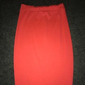 Neon Orange Knee Length BodyCon Skirt